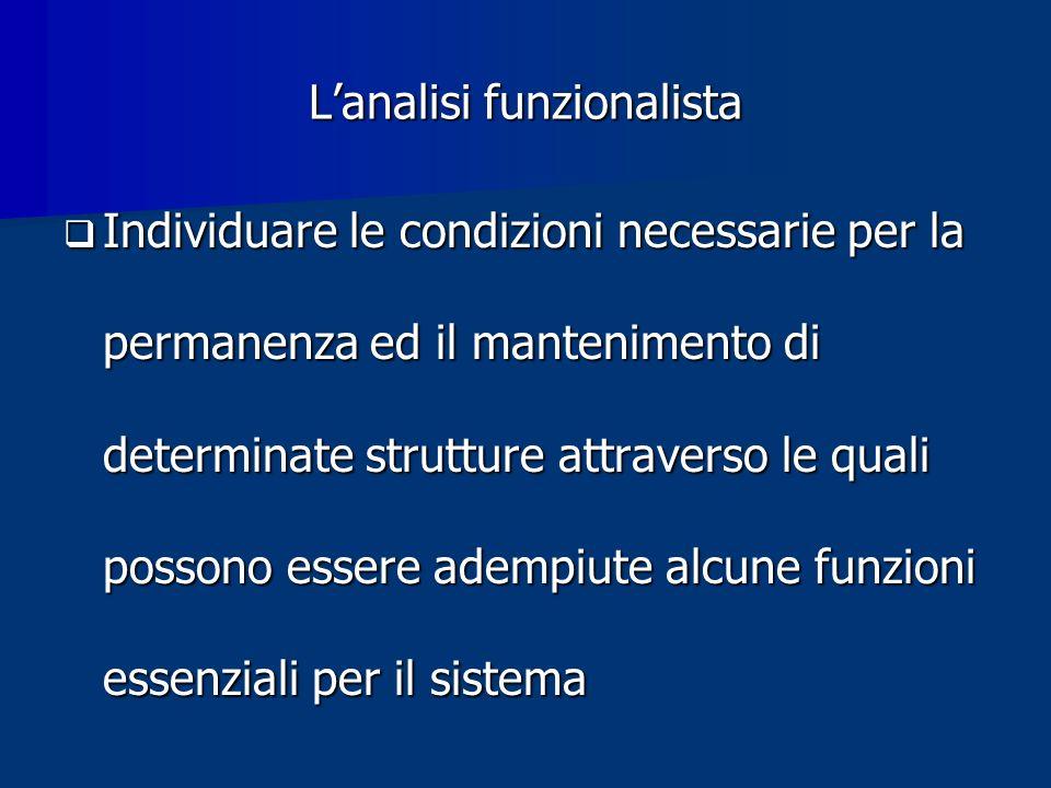 Lanalisi funzionalista Individuare le condizioni necessarie per la permanenza ed il mantenimento di determinate strutture attraverso le quali possono essere adempiute alcune funzioni essenziali per il sistema Individuare le condizioni necessarie per la permanenza ed il mantenimento di determinate strutture attraverso le quali possono essere adempiute alcune funzioni essenziali per il sistema