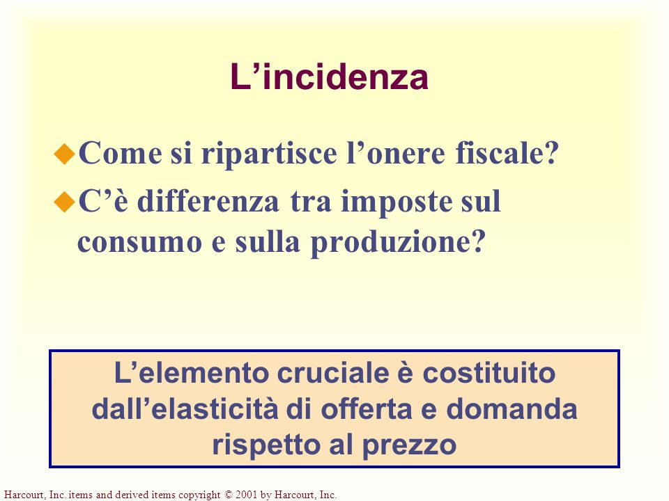 Harcourt, Inc. items and derived items copyright © 2001 by Harcourt, Inc. Lincidenza u Come si ripartisce lonere fiscale? u Cè differenza tra imposte