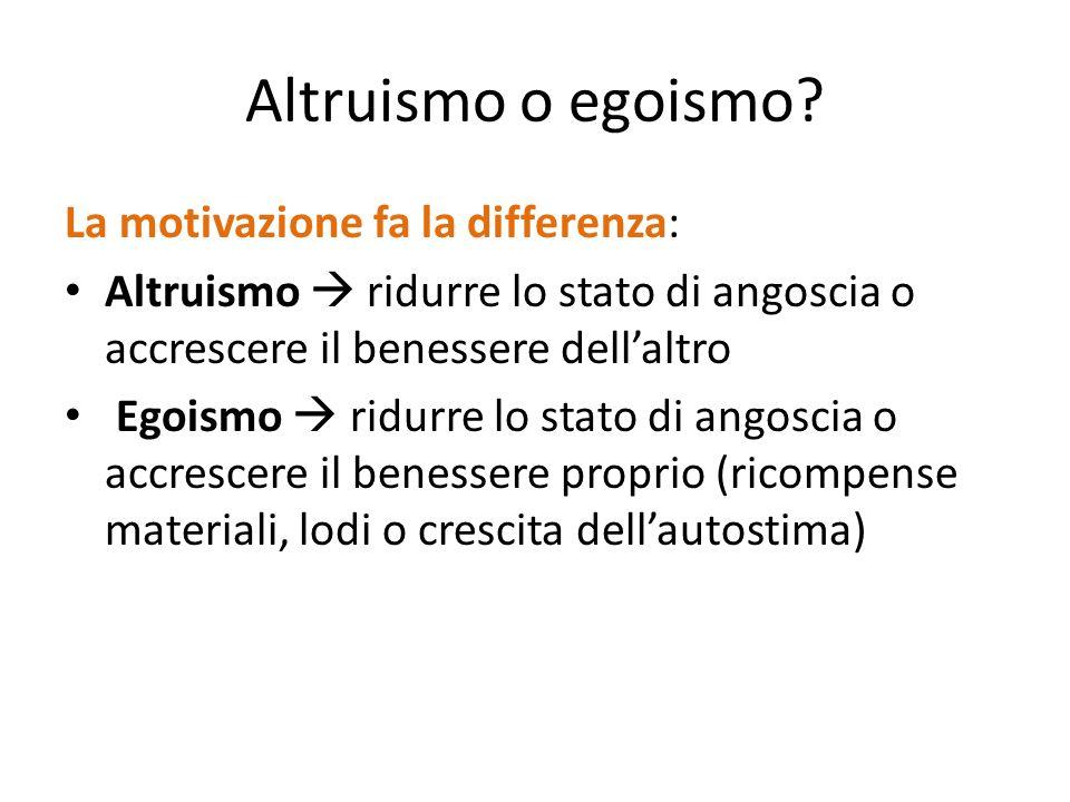 Altruismo o egoismo? La motivazione fa la differenza: Altruismo ridurre lo stato di angoscia o accrescere il benessere dellaltro Egoismo ridurre lo st