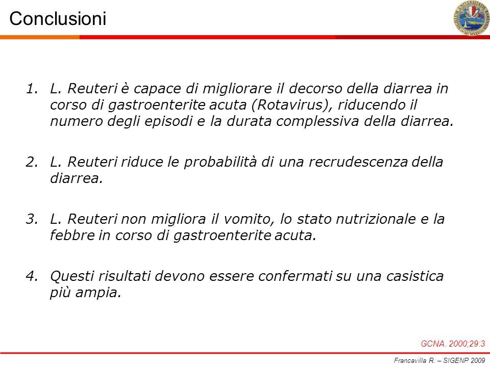 Conclusioni Francavilla R. – SIGENP 2009 GCNA. 2000;29:3 1.L. Reuteri è capace di migliorare il decorso della diarrea in corso di gastroenterite acuta