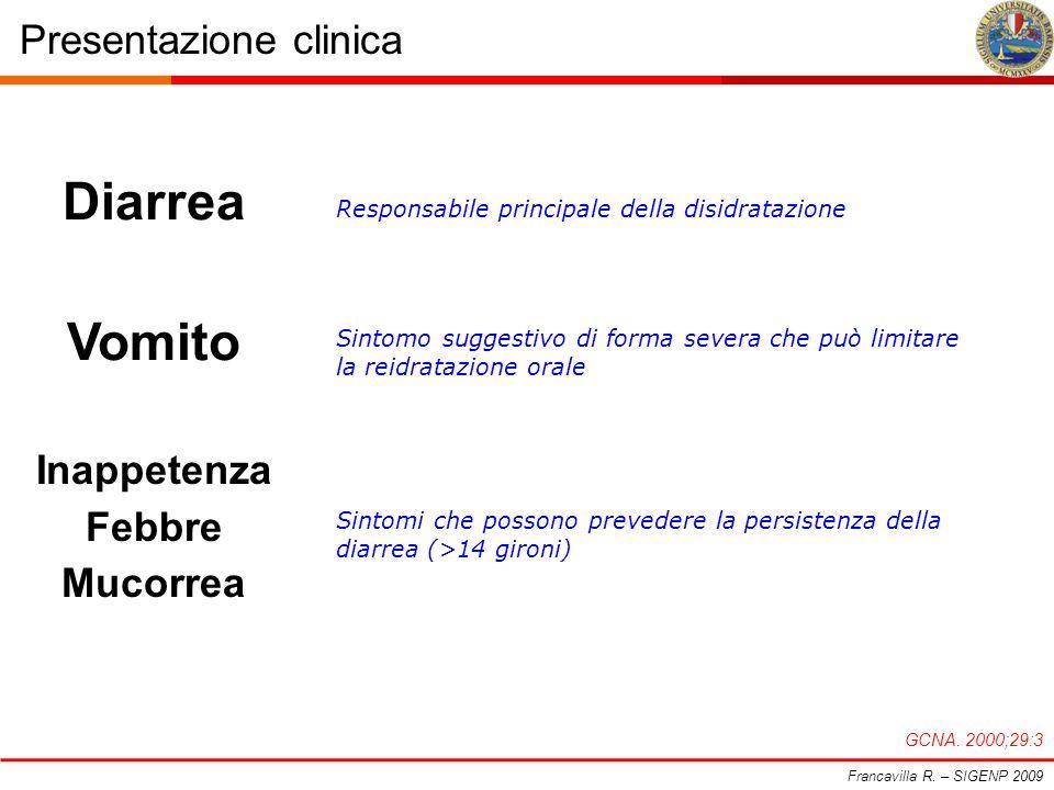 Presentazione clinica Francavilla R. – SIGENP 2009 GCNA. 2000;29:3 Responsabile principale della disidratazione Diarrea Sintomo suggestivo di forma se