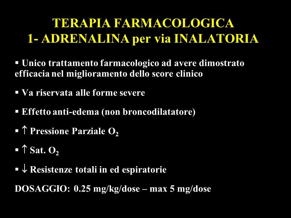 TERAPIA FARMACOLOGICA 1- ADRENALINA per via INALATORIA Unico trattamento farmacologico ad avere dimostrato efficacia nel miglioramento dello score cli