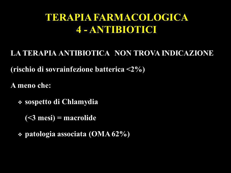 LA TERAPIA ANTIBIOTICA NON TROVA INDICAZIONE (rischio di sovrainfezione batterica <2%) A meno che: sospetto di Chlamydia (<3 mesi) = macrolide patolog