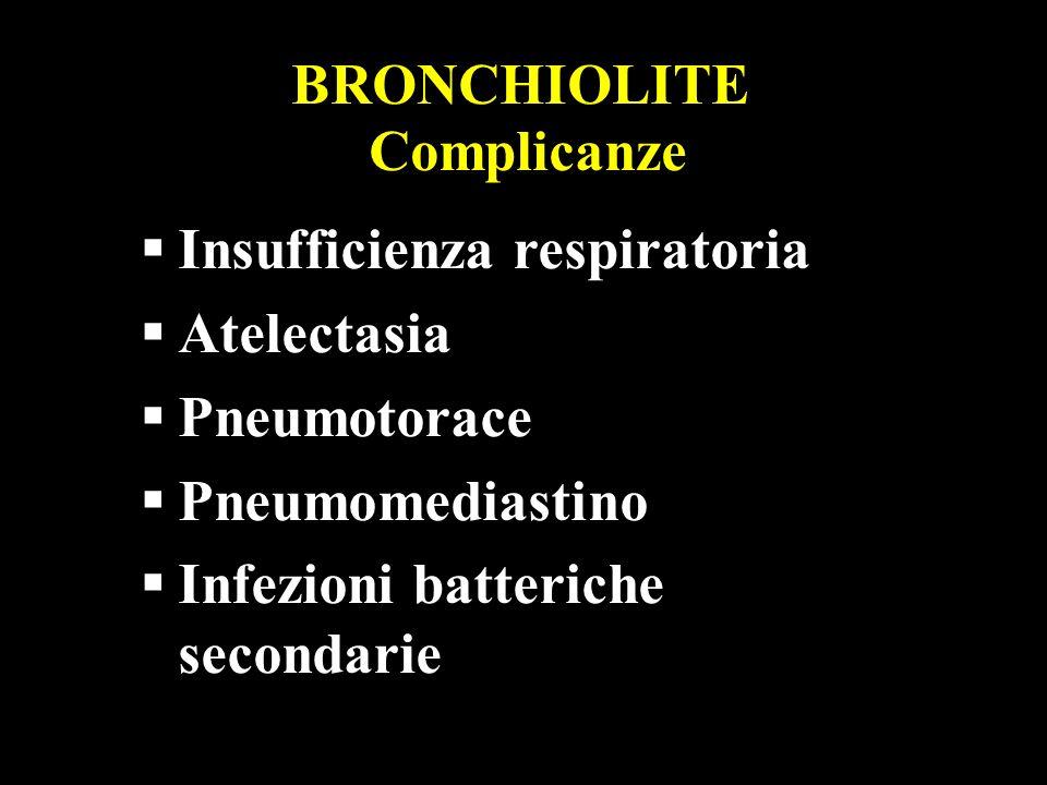 BRONCHIOLITE Complicanze Insufficienza respiratoria Atelectasia Pneumotorace Pneumomediastino Infezioni batteriche secondarie