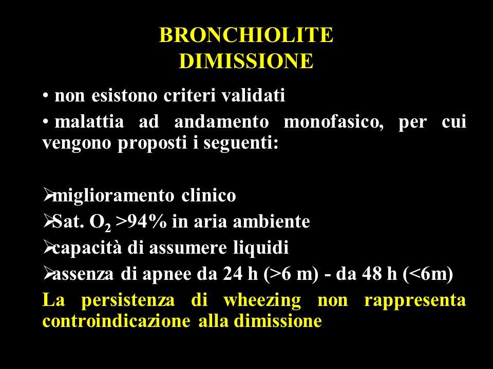 BRONCHIOLITE DIMISSIONE non esistono criteri validati malattia ad andamento monofasico, per cui vengono proposti i seguenti: miglioramento clinico Sat