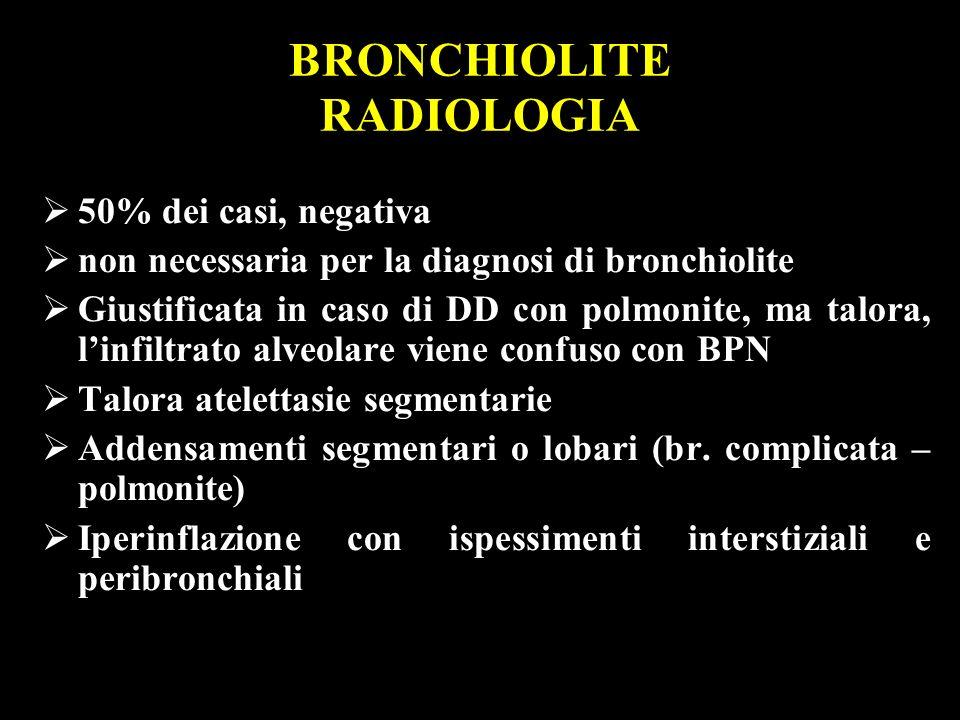 50% dei casi, negativa non necessaria per la diagnosi di bronchiolite Giustificata in caso di DD con polmonite, ma talora, linfiltrato alveolare viene