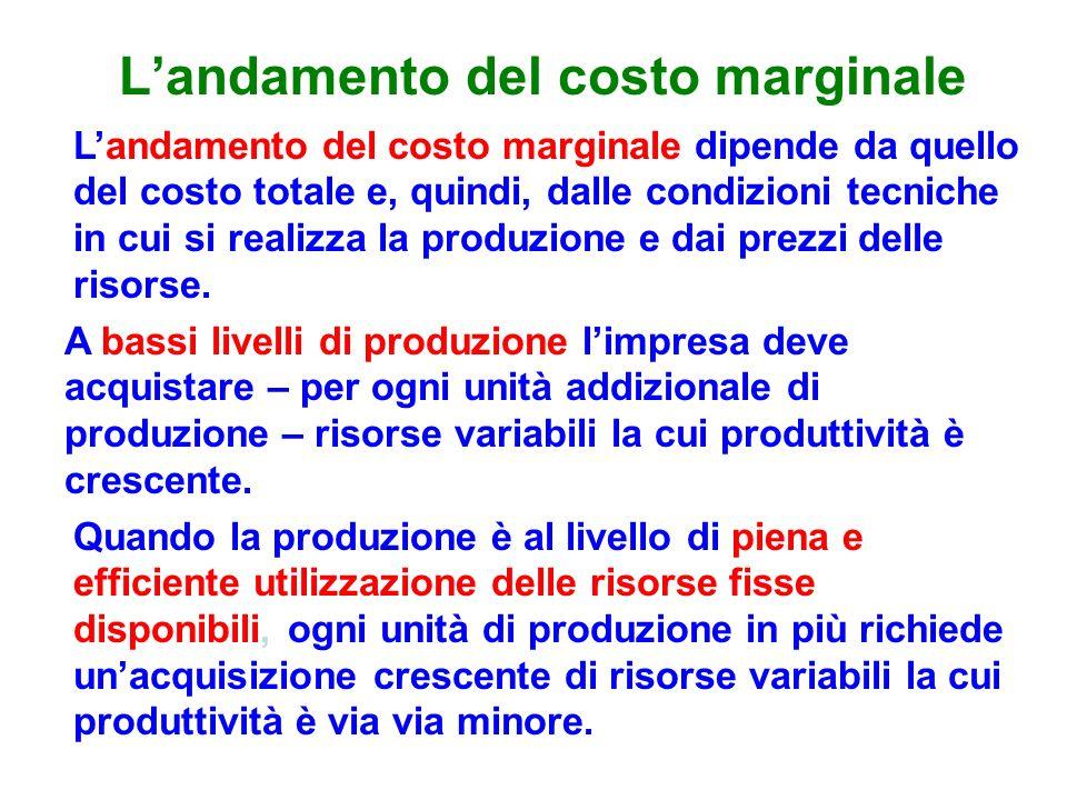 Landamento del costo marginale Landamento del costo marginale dipende da quello del costo totale e, quindi, dalle condizioni tecniche in cui si realizza la produzione e dai prezzi delle risorse.