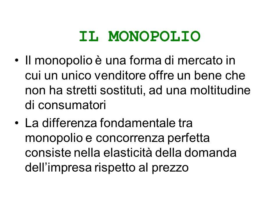 IL MONOPOLIO Il monopolio è una forma di mercato in cui un unico venditore offre un bene che non ha stretti sostituti, ad una moltitudine di consumatori La differenza fondamentale tra monopolio e concorrenza perfetta consiste nella elasticità della domanda dellimpresa rispetto al prezzo
