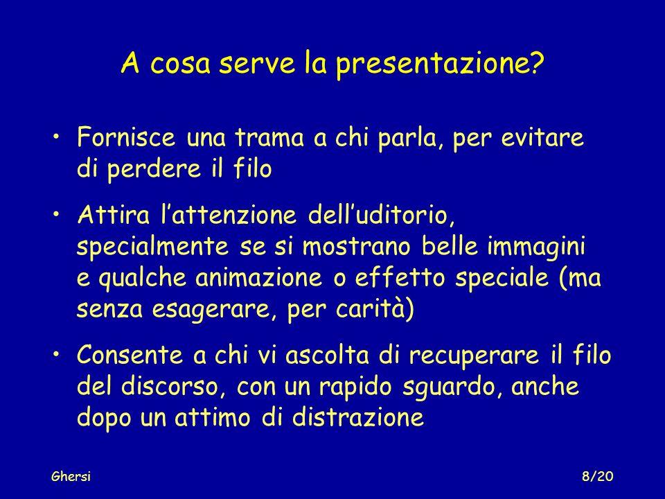 Ghersi9/20 Cosa non bisogna fare - 1 Mai leggere pari pari quello che è scritto nella slide Dovete comunicare con luditorio.
