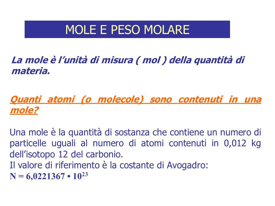 Quanti atomi (o molecole) sono contenuti in una mole? Una mole è la quantità di sostanza che contiene un numero di particelle uguali al numero di atom