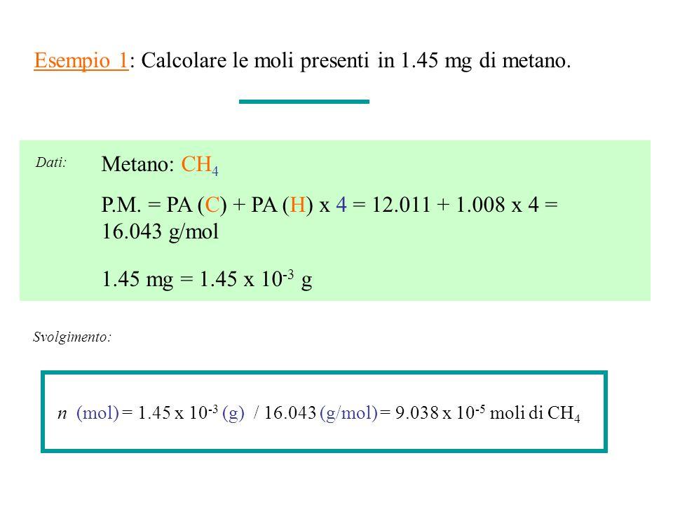 Esempio 1: Calcolare le moli presenti in 1.45 mg di metano. 1.45 mg = 1.45 x 10 -3 g Metano: CH 4 P.M. = PA (C) + PA (H) x 4 = 12.011 + 1.008 x 4 = 16