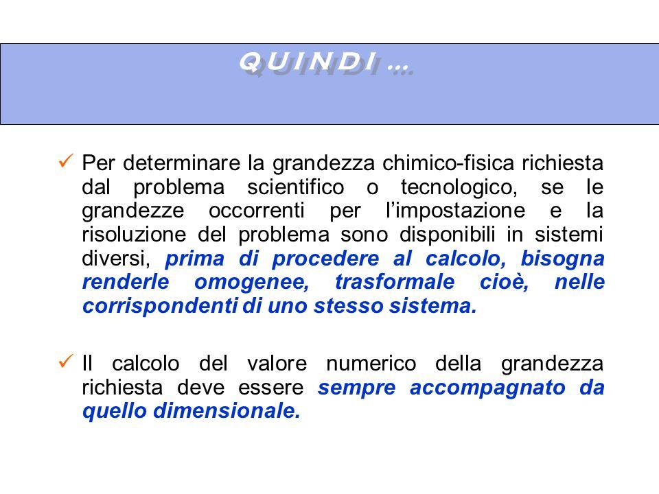 Q U I N D I … Per determinare la grandezza chimico-fisica richiesta dal problema scientifico o tecnologico, se le grandezze occorrenti per limpostazio