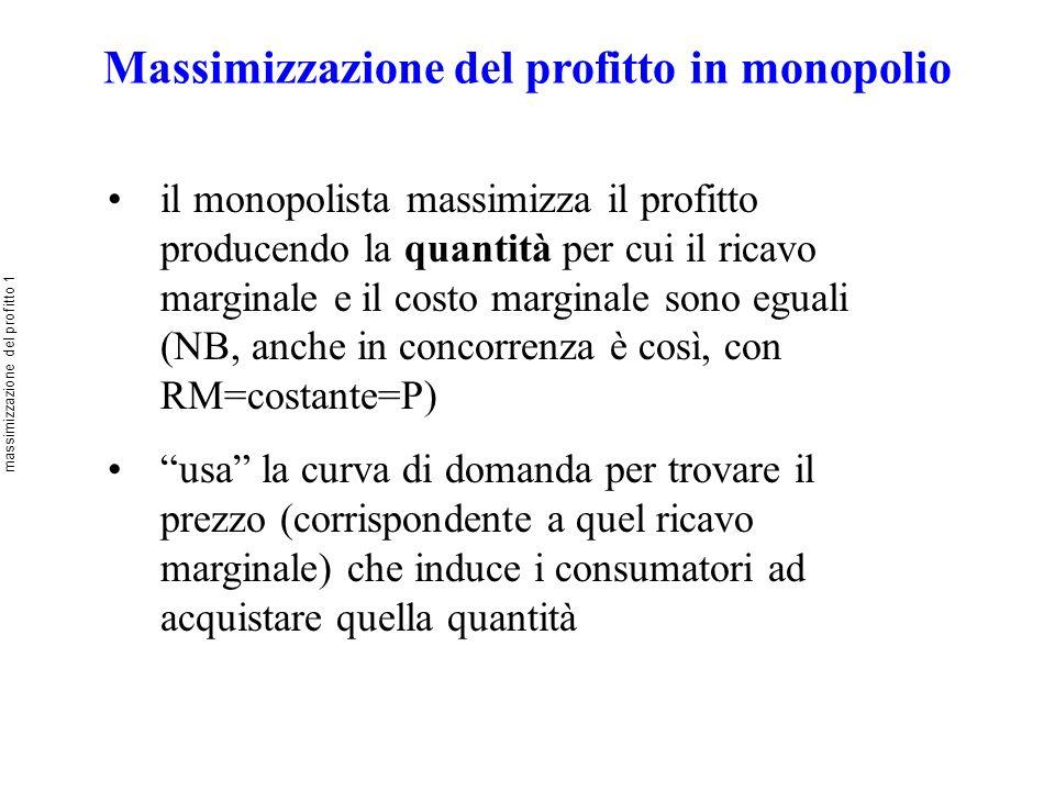Massimizzazione del profitto in monopolio il monopolista massimizza il profitto producendo la quantità per cui il ricavo marginale e il costo marginal