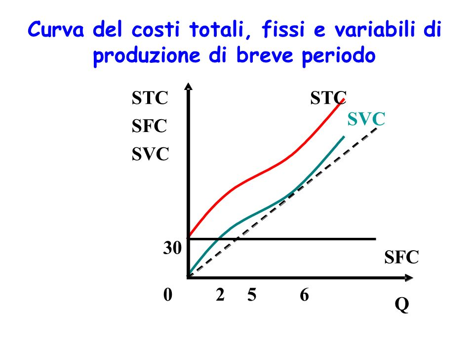 Costi totali, medi e marginali (breve perido) Costi medi totali (average total costs, ATC) Costi medi fissi (average fixed costs, AFC) Costi medi variabili (average variable costs, AVC) costi medi
