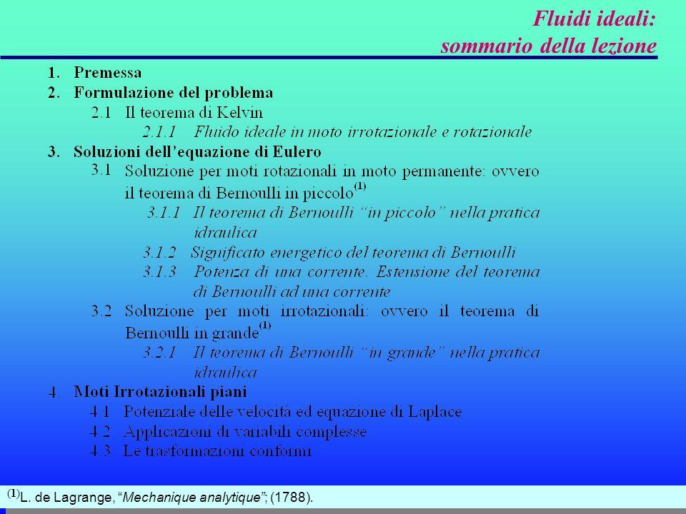 3.1 Soluzione per moti rotazionali in moto permanente: ovvero il teorema di Bernoulli in piccolo moto rotazionale; Se si introducono le ipotesi di: moto permanente; H è costante sulle linee di corrente (che coincidono con le traiettorie nellipotesi introdotta di moto permanente) e sulle linee di vorticità.