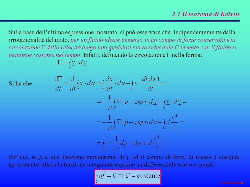 2.1 Il teorema di kelvin Esaminiamo alcune conseguenze del teorema di Kelvin.