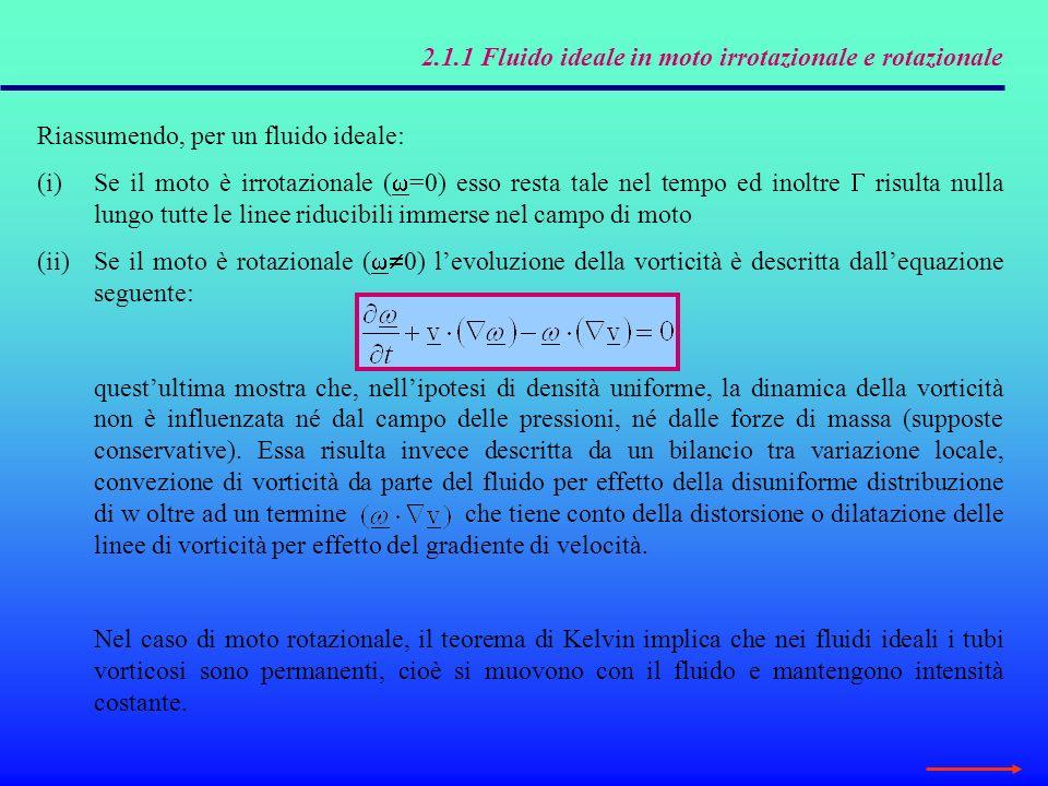 2.1.1 Fluido ideale in moto irrotazionale e rotazionale In un fluido a densità costante soggetto a un campo di forze conservativo, la vorticità non può essere generata allinterno della massa fluida.