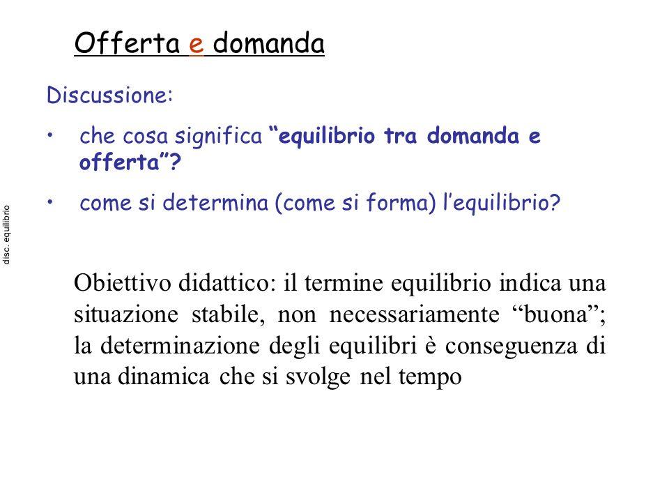 Offerta e domanda Discussione: che cosa significa equilibrio tra domanda e offerta? come si determina (come si forma) lequilibrio? Obiettivo didattico