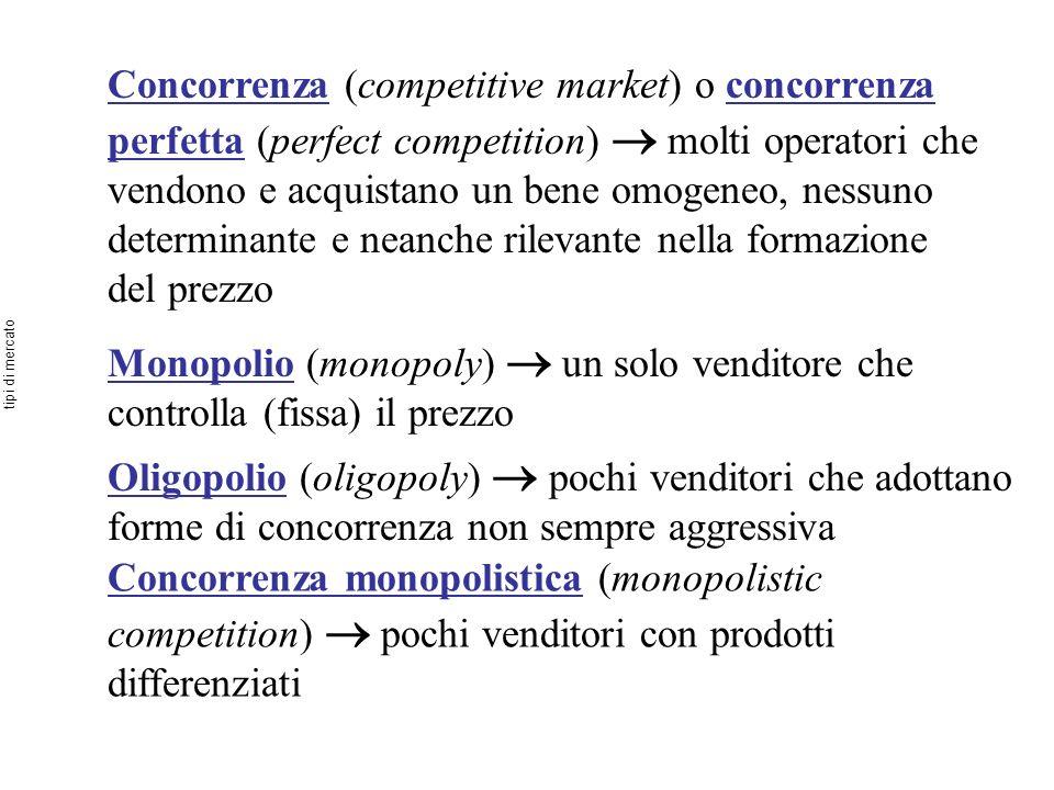 Concorrenza (competitive market) o concorrenza perfetta (perfect competition) molti operatori che vendono e acquistano un bene omogeneo, nessuno deter