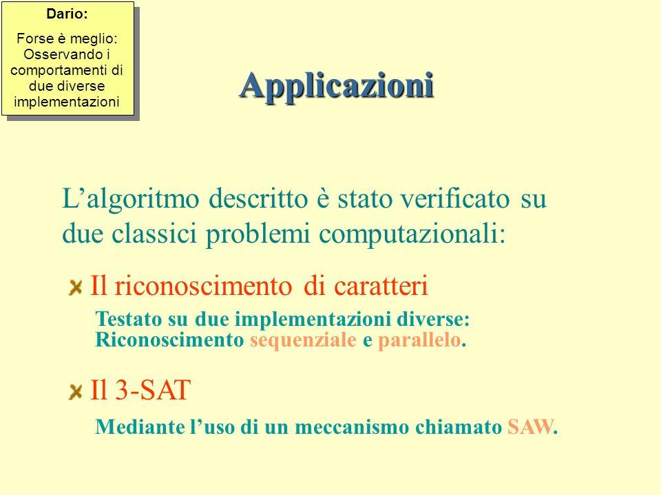 Applicazioni Lalgoritmo descritto è stato verificato su due classici problemi computazionali: Il riconoscimento di caratteri Testato su due implementazioni diverse: Riconoscimento sequenziale e parallelo.