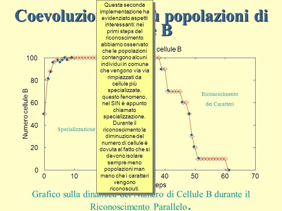 Coevoluzione di più popolazioni di cellule B 0 20 40 60 80 100 010203040506070 Numero cellule B Time Steps Totalità delle cellule B Specializzazione Riconoscimento dei Caratteri Grafico sulla dinamica del Numero di Cellule B durante il Riconoscimento Parallelo.