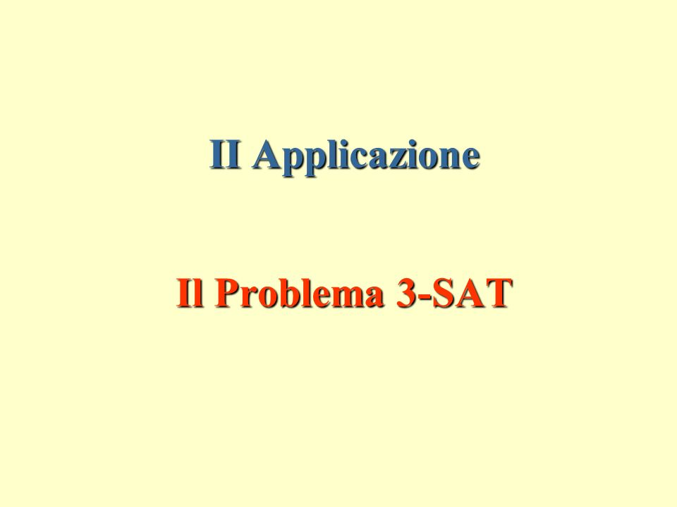 II Applicazione Il Problema 3-SAT