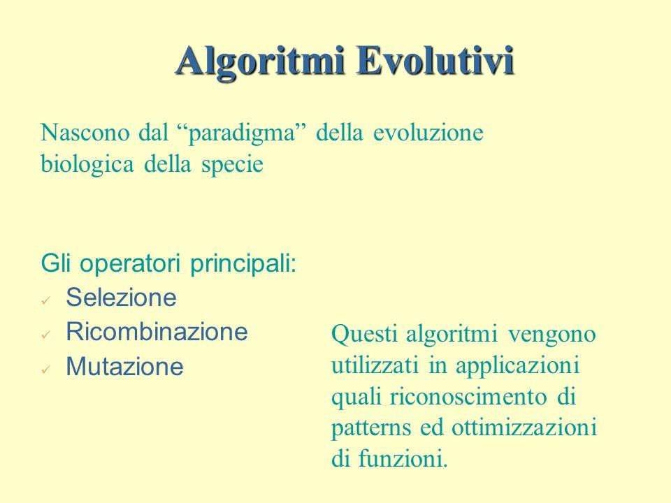 Algoritmi Evolutivi Gli operatori principali: Selezione Ricombinazione Mutazione Nascono dal paradigma della evoluzione biologica della specie Questi algoritmi vengono utilizzati in applicazioni quali riconoscimento di patterns ed ottimizzazioni di funzioni.