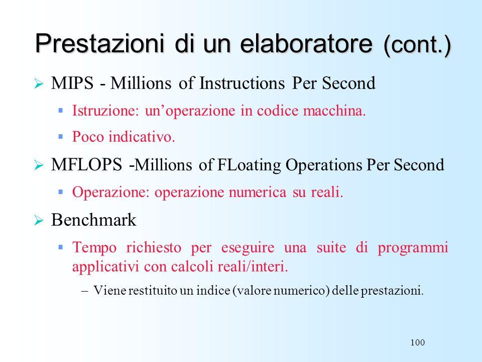 100 Prestazioni di un elaboratore (cont.) MIPS - Millions of Instructions Per Second Istruzione: unoperazione in codice macchina. Poco indicativo. MFL