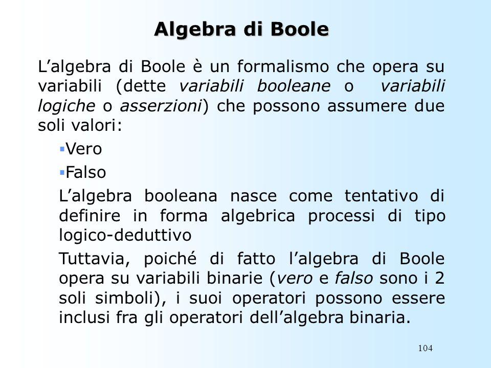 104 Algebra di Boole Lalgebra di Boole è un formalismo che opera su variabili (dette variabili booleane o variabili logiche o asserzioni) che possono