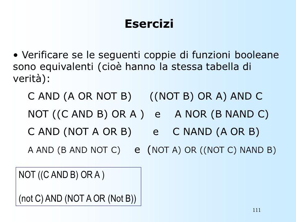 111 Esercizi Verificare se le seguenti coppie di funzioni booleane sono equivalenti (cioè hanno la stessa tabella di verità): C AND (A OR NOT B) ((NOT