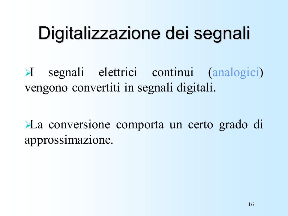 16 Digitalizzazione dei segnali I segnali elettrici continui (analogici) vengono convertiti in segnali digitali. La conversione comporta un certo grad
