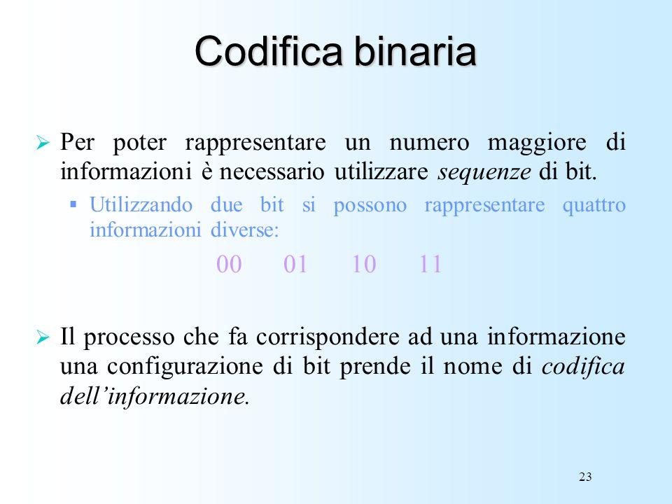 23 Codifica binaria Per poter rappresentare un numero maggiore di informazioni è necessario utilizzare sequenze di bit. Utilizzando due bit si possono