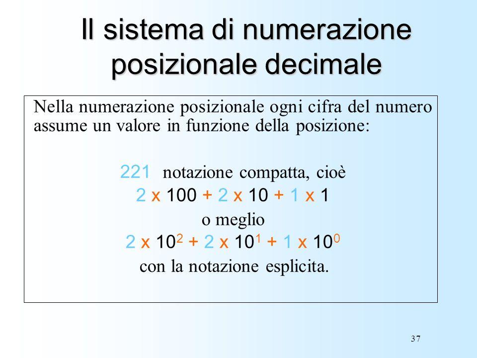 37 Il sistema di numerazione posizionale decimale Nella numerazione posizionale ogni cifra del numero assume un valore in funzione della posizione: 22