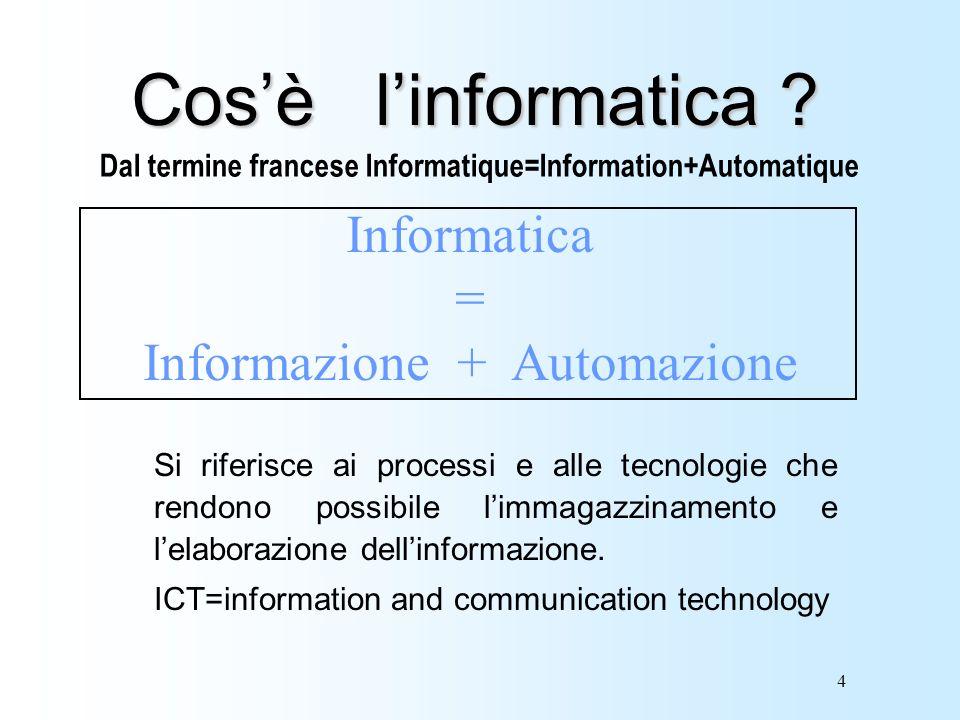 4 Cosè linformatica ? Si riferisce ai processi e alle tecnologie che rendono possibile limmagazzinamento e lelaborazione dellinformazione. ICT=informa