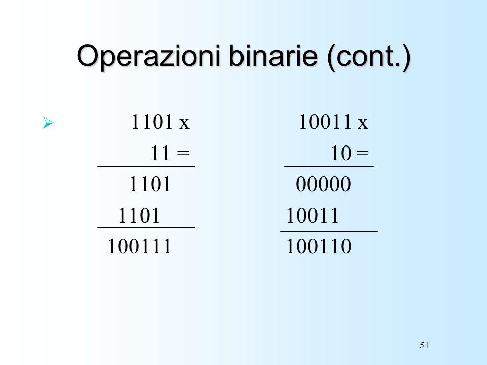 51 Operazioni binarie (cont.) 1101 x 10011 x 11 = 10 = 1101 00000 1101 10011 100111 100110