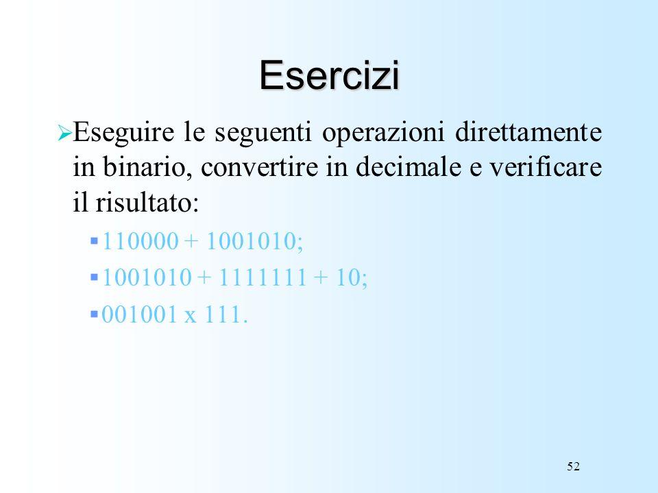 52 Esercizi Eseguire le seguenti operazioni direttamente in binario, convertire in decimale e verificare il risultato: 110000 + 1001010; 1001010 + 111