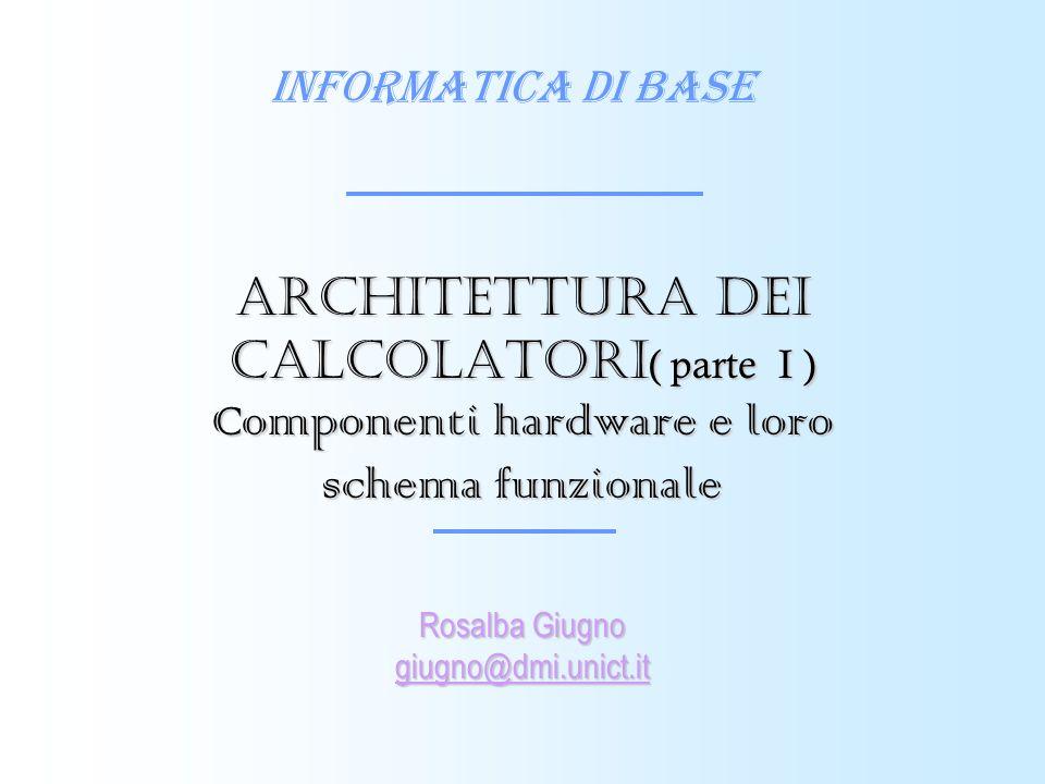 Informatica di Base Rosalba Giugno giugno@dmi.unict.it Architettura dei calcolatori ( parte I ) Componenti hardware e loro schema funzionale