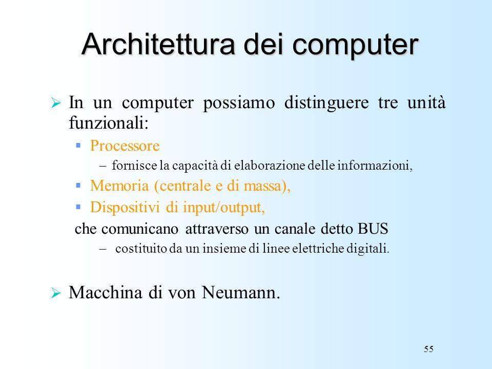 55 Architettura dei computer In un computer possiamo distinguere tre unità funzionali: Processore –fornisce la capacità di elaborazione delle informaz