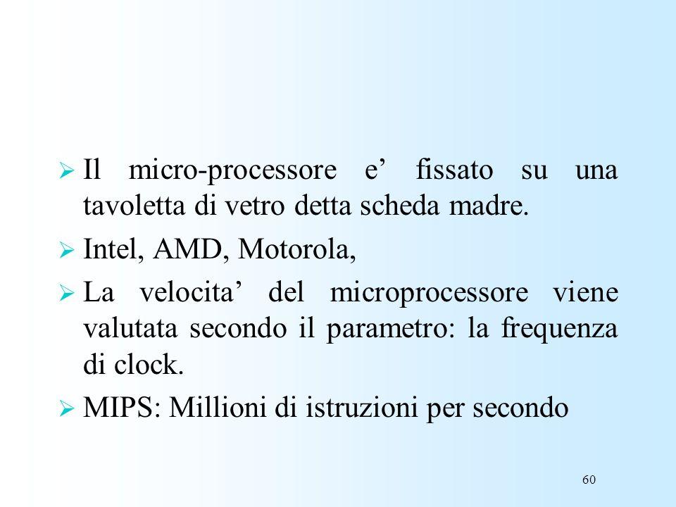 60 Il micro-processore e fissato su una tavoletta di vetro detta scheda madre. Intel, AMD, Motorola, La velocita del microprocessore viene valutata se