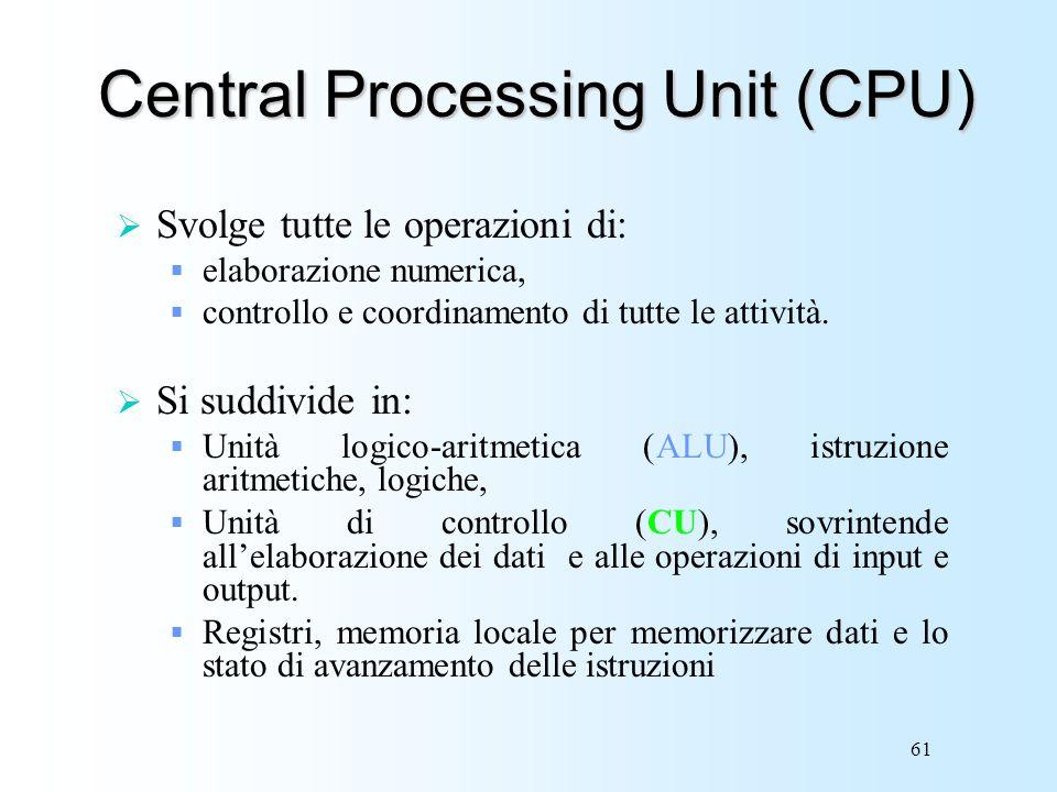61 Central Processing Unit (CPU) Svolge tutte le operazioni di: elaborazione numerica, controllo e coordinamento di tutte le attività. Si suddivide in
