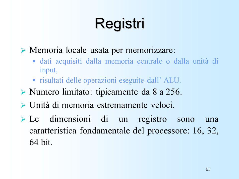 63 Registri Memoria locale usata per memorizzare: dati acquisiti dalla memoria centrale o dalla unità di input, risultati delle operazioni eseguite da