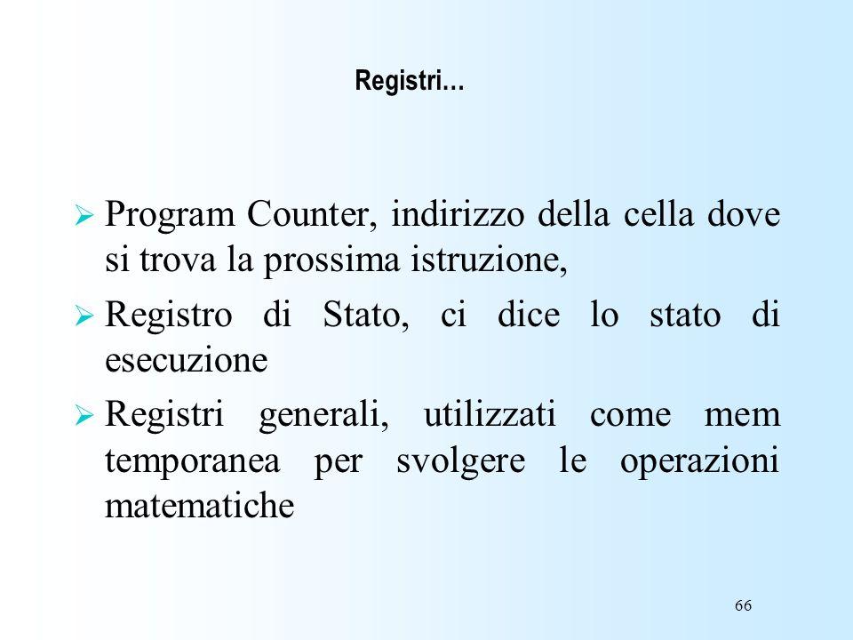 66 Program Counter, indirizzo della cella dove si trova la prossima istruzione, Registro di Stato, ci dice lo stato di esecuzione Registri generali, u