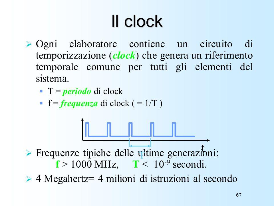67 Il clock Ogni elaboratore contiene un circuito di temporizzazione (clock) che genera un riferimento temporale comune per tutti gli elementi del sis