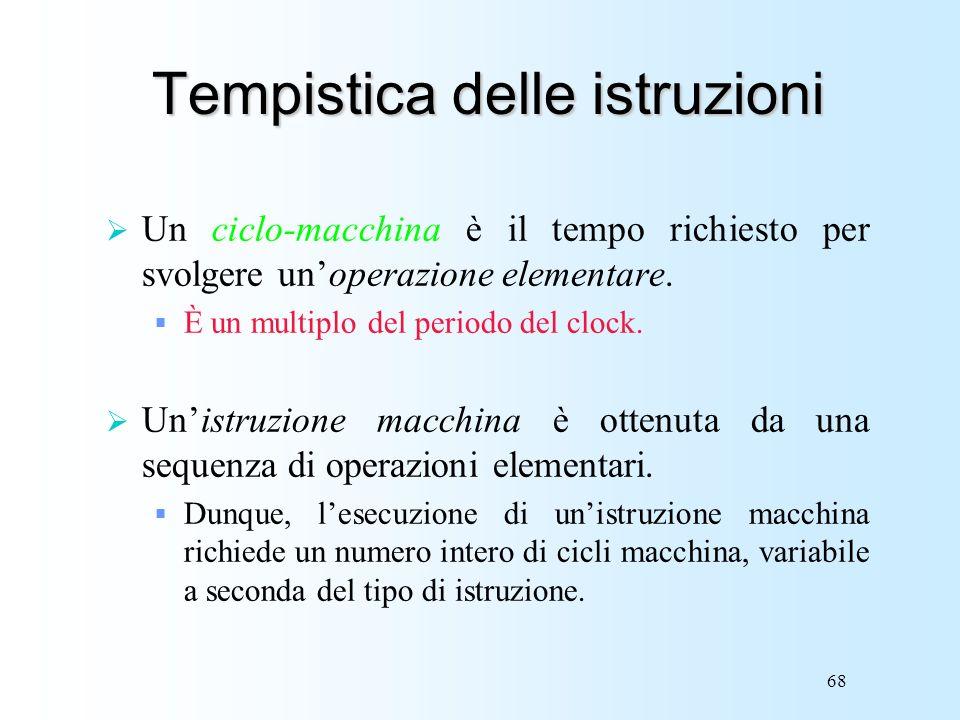 68 Tempistica delle istruzioni Un ciclo-macchina è il tempo richiesto per svolgere unoperazione elementare. È un multiplo del periodo del clock. Unist