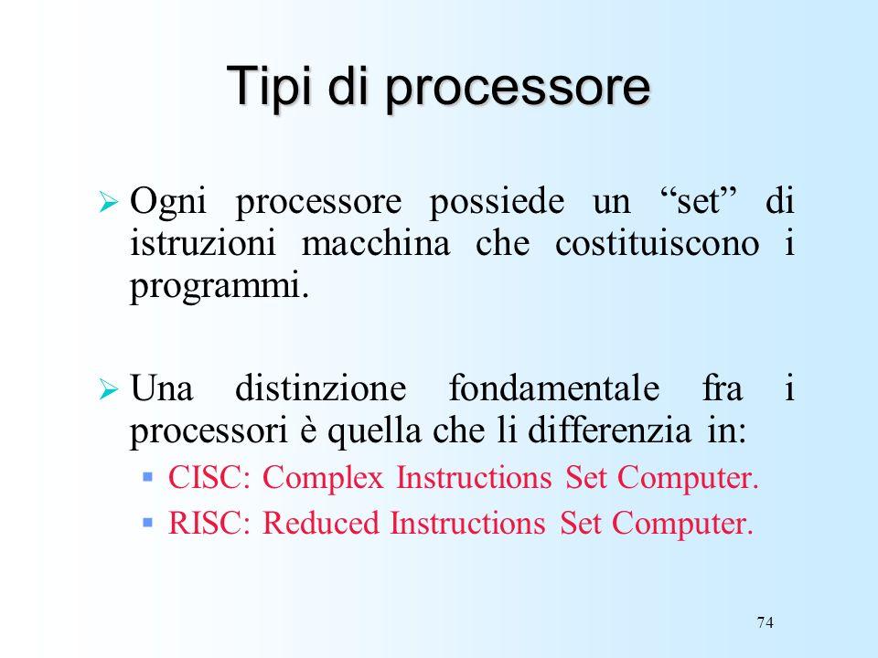 74 Tipi di processore Ogni processore possiede un set di istruzioni macchina che costituiscono i programmi. Una distinzione fondamentale fra i process