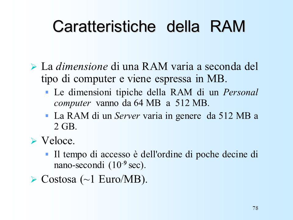 78 Caratteristiche della RAM La dimensione di una RAM varia a seconda del tipo di computer e viene espressa in MB. Le dimensioni tipiche della RAM di