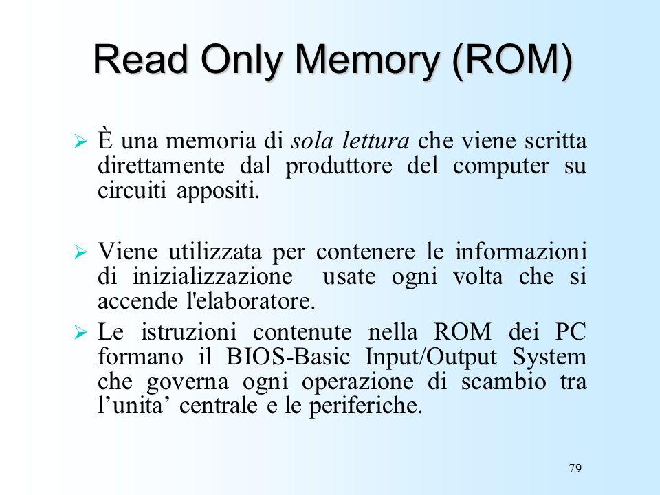 79 Read Only Memory (ROM) È una memoria di sola lettura che viene scritta direttamente dal produttore del computer su circuiti appositi. Viene utilizz