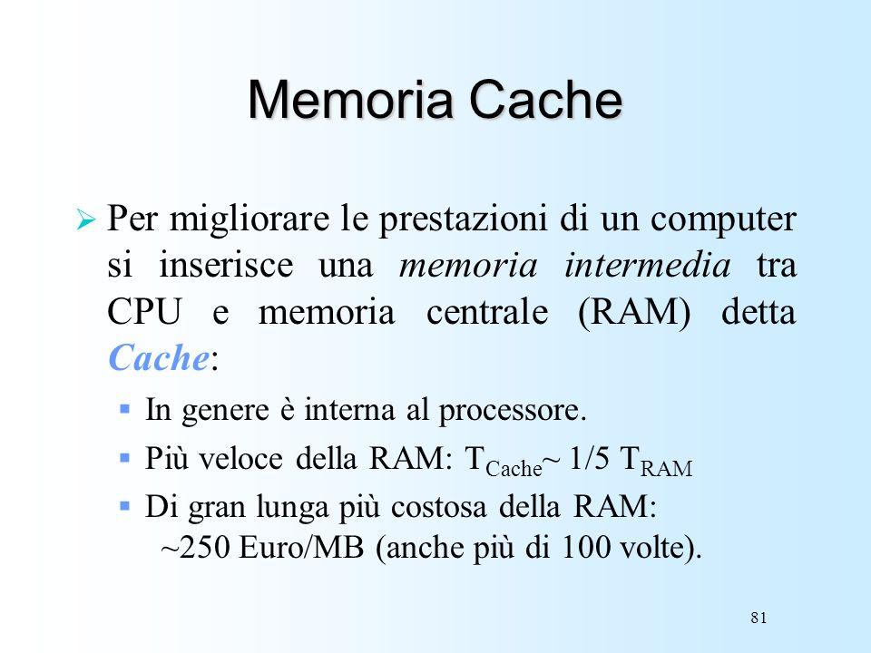 81 Memoria Cache Per migliorare le prestazioni di un computer si inserisce una memoria intermedia tra CPU e memoria centrale (RAM) detta Cache: In gen