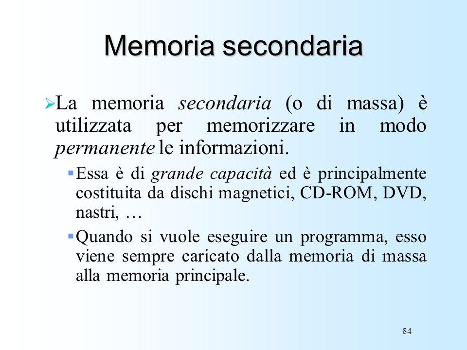 84 Memoria secondaria La memoria secondaria (o di massa) è utilizzata per memorizzare in modo permanente le informazioni. Essa è di grande capacità ed