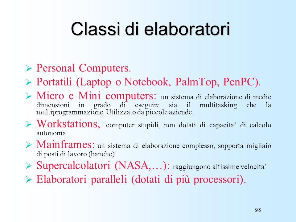 98 Classi di elaboratori Personal Computers. Portatili (Laptop o Notebook, PalmTop, PenPC). Micro e Mini computers: un sistema di elaborazione di medi